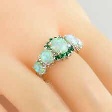 Vogue Women Exquisite Green Fire Gems Silver Ring Opal & Emerald Rings Jewelry