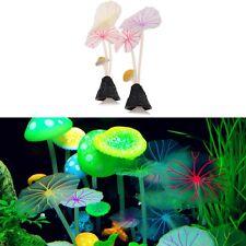 Aquarium Artificial Lotus Leaf Mushroom Glowing Fish Tank Ornament Decoration