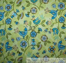 BonEful FABRIC Cotton Quilt Green Blue Spring BIRD Leaf Flower Dot Baby US SCRAP