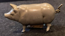 """Vintage 1 3/4"""" Metal Pig Figural Tape Measure With Wind-Up Tail Pre-owned"""