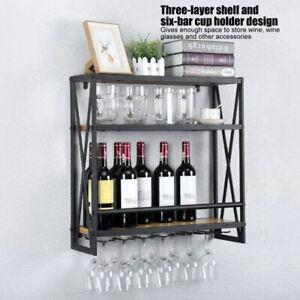 3 Layers Full Metal Black Wall Mounted Gin Wine Glass Display Shelf Rack Holder