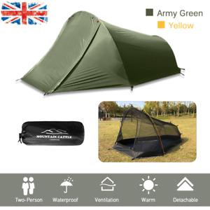2 Man Camping Tent Lightweight Outdoor Biking Hiking Backpacking Tent UK Q8H0