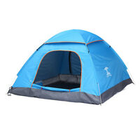 Waterproof 3-4 Person Automatic Pop Up Tent Camping Hiking Travell Outdoor Blue