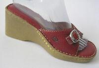 Born Brown Leather Platform Wedge Slides Buckle Sandals Womens 8 / 39