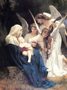 William Adolphe Bouguereau Song Of Angels Old Art Painting Canvas Art Print