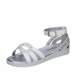 scarpe bambina FIORUCCI sandali bianco pelle sintetica strass BK504