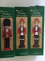 """SET OF 3 TRADITIONS WOODEN NUTCRACKER 14"""" FIGURINES"""