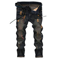 US Men Fashion Ripped Distressed Straight Jeans Distroyed Slim Fit Denim Pants