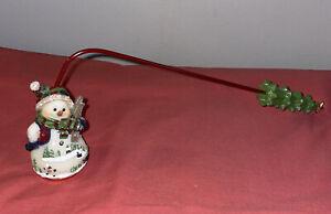 "Home Interiors Snowman Candle Snuffer Christmas Tree Handle 10.5"" Length Homco"