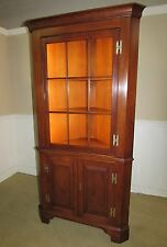 HENKEL HARRIS SOLID CHERRY CORNER CABINET, CURIO, 9 PANE CHINA CLOSET