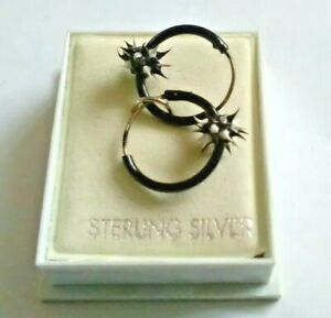 Small Black Hooped Sterling Silver Earrings with Spike Detail (Boxed).