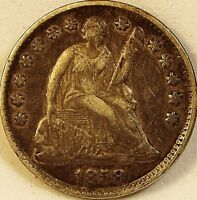 1858 Liberty Seated Half Dime 90% silver 5c disme dark toning grades AU +
