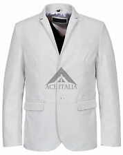 Mens Leather Blazer White Classic Formal Coat Genuine Lamb Leather Blazer 3450