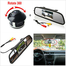 "360° Rotatable HD Camera+4.3"" Car SUV Rearview Backup Mirror LCD Display Monitor"
