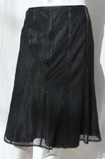 ANN TAYLOR BLACK LACE OVERLAY A Line KNEE LINED EVENING SKIRT size M 8 as is