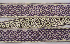 "Traditional Jacquard Vestment Trim Gold & Purple 1 5/8"" Wide Medieval Gothic DIY"