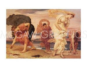 "LEIGHTON FREDERIC-GREEK GIRLS PICKING UP PEBBLES-ART PRINT POSTER11"" X 14""(1024"