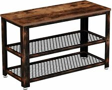Rolanstar Shoe Bench, Sturdy Shoe Rack Bench with Mesh Shelves, Rustic Storage