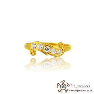 22ct 916 Indian Yellow Gold Ring with CZ Size P  SR134
