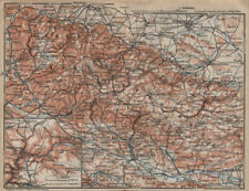 HARZ MOUNTAINS topo-map. Harzgerode. Halberstadt Nordhausen karte 1910 old