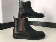 Gucci black Leather Chelsea Web Boots Size 31 Uk Infant 12.5 Rrp £260 WORN ONCE