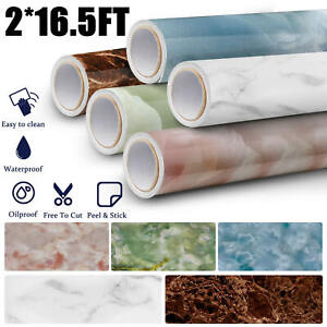 16.5 ft Marble Contact Wallpaper Self Adhesive Waterproof Oilproof Wall Stickers