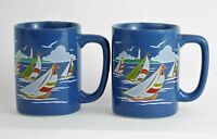 VINTAGE OTAGIRI COFFEE MUGS CUPS SET OF 2 - Blue Sailboats 8 oz - Made in Japan