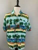 PINEAPPLE CONNECTION Hawaiian Camp Shirt Palm Trees Cars Aloha Size Large