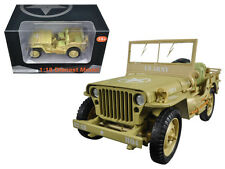 US Army WWII Jeep Vehicle Desert Color Collectable 1:18 Scale Diecast Toy 77408