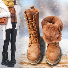 LADIES WOMENS WINTER WARM MID-CLAF BOOTS FAUX FUR GRIP SOLE LACE UP CHUNKY SHOES