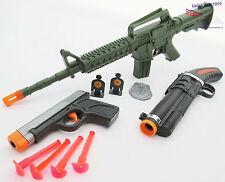 3x Toy Guns Green M-16 Machine Gun Grey 9MM Dart Pistol Sawed-off Toy Shotgun