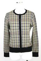 womens multi color plaid ANN TAYLOR cardigan sweater fine knit modern LARGE