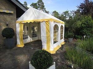 Partyzelt 4x4m PVC  Festzelt Bierzelt Zelt Pavillon gelb-weiß NEU