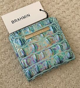 Brahmin Melbourne JANE Small Square Bifold Wallet WONDERLAND Iridescent Blue NWT