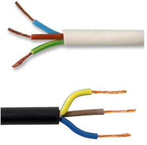3 Core Black & White Electrical Flexible Mains Cable Wire 0.75, 1.0, 1.5, 2.5 mm