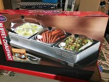 Nostalgia Electrics Buffet Cooker Food Warmer 3 Station Server Stainless Steel