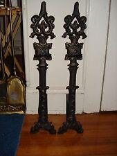 ANDIRONS FIREPLACE MID EVIL DESIGN CATHEDRAL TOP, CAST METAL,IRON RARE