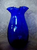 Collectible Cobalt Blue Blown Art Glass Ruffle Vase