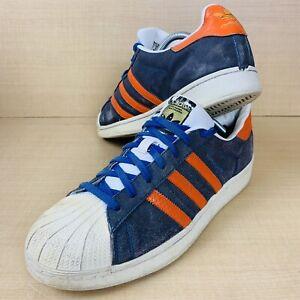 Mens Adidas Superstar Blue Suede & Orange Striped Trainers - Size UK 11