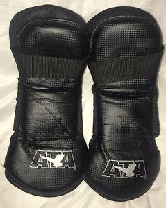ATA Taekwondo Karate Black Vinyl Foot Gear Pads Sparring Boots Adult Size 13