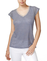 Maison Jules Striped Linen T-Shirt White Blue Gold - Size S or M  *NEW with Tag*