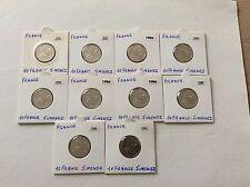 Lot de 10 pièces 10 F Jimenez 1986 France