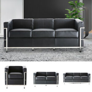 Mid-Century Genuine Leather Sofa Armchair Black Fit For Waiting Room