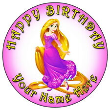 """DISNEY PRINCESS RAPUNZEL PARTY- 7.5"""" PERSONALISED ROUND EDIBLE ICING CAKE TOPPER"""