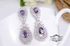 Pendientes Lujo DE CIRCONITA AAA Candelabro XXL STELLUX™ cristales púrpura