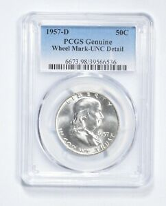 Genuine UNC Detail 1957-D Franklin Half Dollar - Graded PCGS *485