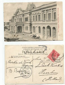 SINGAPORE  1910 PC Post Office & Exchange, Singapore sent to Holland @3c rate