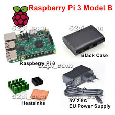 Raspberry Pi 3 Model B 1GB RAM + Heatsinks + ABS Case + 5V 2.5A EU Power Supply