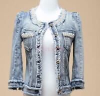 Pearl Beaded Women's Jacket Short Coat Denim Jeans Tassels Washed Round Collar
