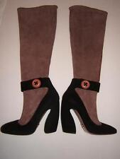 PRADA 5 SEXY RARE ILLUSION Stretch SUEDE BOOTS Brown Black Designer ITALY Womens